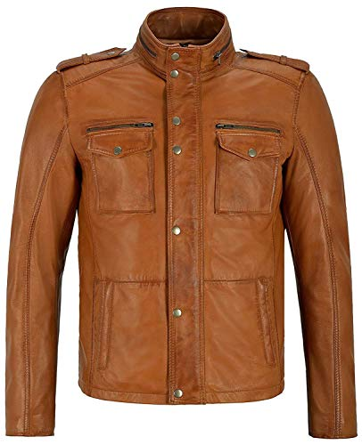 Tan tan 2 safari veste homme en cuir souple en cuir véritable tout de taille (UK LARGE/EU 52)