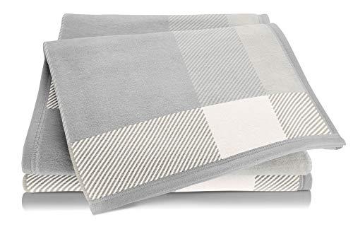biederlack® Kuschel-Decke Check I Made in Germany I Öko-Tex Made in Green I weiche Wohndecke Creme-grau kariert I leichte Couch-Decke aus Baumwolle und Dralon I Sofa-Decke 150x200 cm