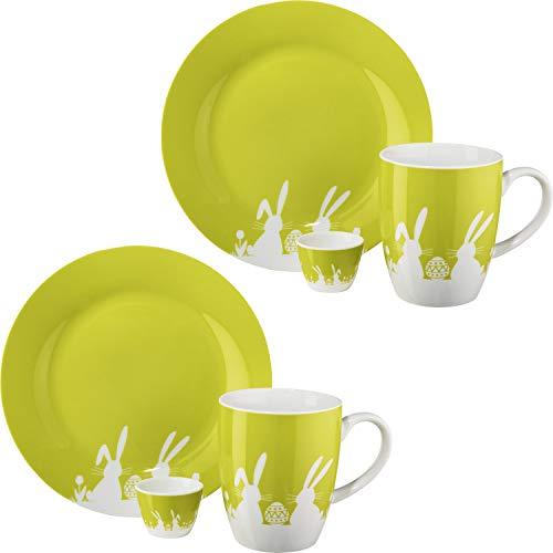 Gepolana Frühstücksset 6-tlg. Porzellan Limonengrün