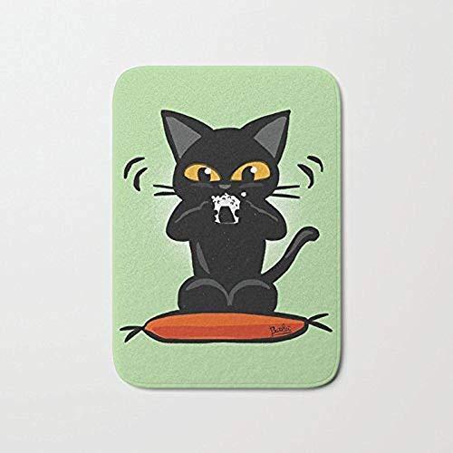 Amanda Walter Schwarze Katze Dine Reis und Gemüse Roll Rechteck vorne Willkommen Fußmatte große Outdoor Indoor Eingang Fußmatte 15,7 'X 23,5'