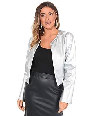 KRISP Women PU Leather Cropped Jacket Long Sleeve Bolero[4432-SIL-L] Silver