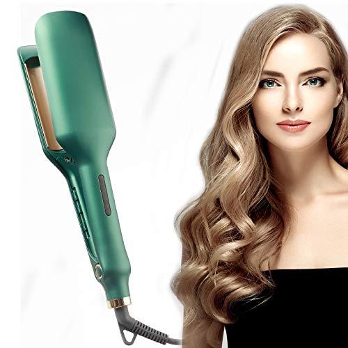 Hair Waver Iron, Crimper Hair Iron, Anti-Scald Hair Crimpers and Wavers 28mm, 1.1 Inch Deep Beach Waver Curling Iron for Short/Long Hair,Green,Basic