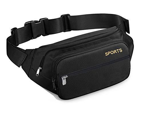 AMBITO Bauchtasche,Gürteltasche Wasserdicht, 4 Pocket Multifunktionale Hüfttasche mit Reißverschluss Geeignet für Reise Wanderung und Alle Outdoor-aktivitäten Schwarz für Damen und Herren