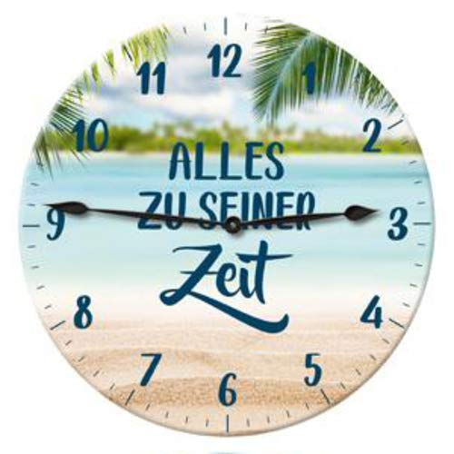 Posten Anker Wanduhr Spruch Alles ZU Seiner Zeit   Designer Uhr batteriebetrieben