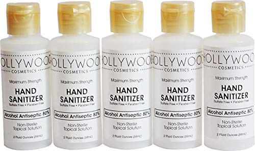 5 Pack Liquid Hand Sanitizer with 80% Alcohol in Travel...