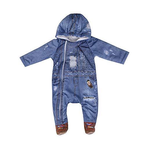 Kitikate Ipek Grenouillère d'hiver à capuche en coton bio pour bébé - Bleu - 9 mois