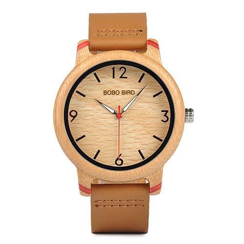 GKXAZ Lovers' Bamboo Uhren Analog-Quarz-Armbanduhr-beiläufige Handgemachte hölzerne Uhr (Color : Red Watch Men)