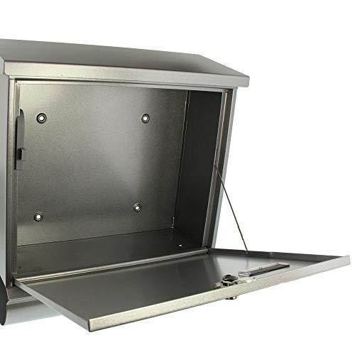 BURG-WÄCHTER, Briefkasten-Set mit integriertem Zeitungsfach, A4 Einwurf-Format, Verzinkter Stahl, Comfort-Set 91300 Si, Silber - 4