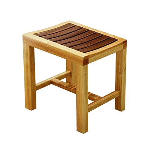 Wood Douche Bench Kruk Zitplaatsen for Bathroom Shower Bench Chair Bath Kruk Spa Sauna Seat (Color : Brown, Size : 43x28x42cm)