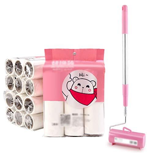 Fusselrolle Klebrige Haar-Roller-Bürste, einziehbares schräg reißendes klebriges Haar-Fußboden-Haustier-Bürsten-Walze-Staub-Kollektor sticky Roller Fusselrolle ( Color : 1 handle+15 rolls of paper )