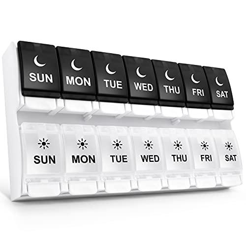 Organizador de pastillas fácil de abrir 2 veces al día, DANYING grande de 7 días dos veces al día, pulsador semanal, caja de píldoras de AM PM, envase de píldoras de día por noche, organizador de vitaminas amigable con artritis, 2 por día