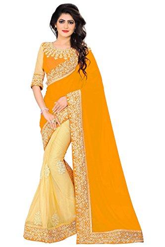 KFHub Sari indio para mujer Georgette Sarees con encaje bordado de moda...