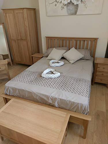Bergen Light Oak 5'0 Kingsize Bed / Scandinavian Retro Style Bed Frame