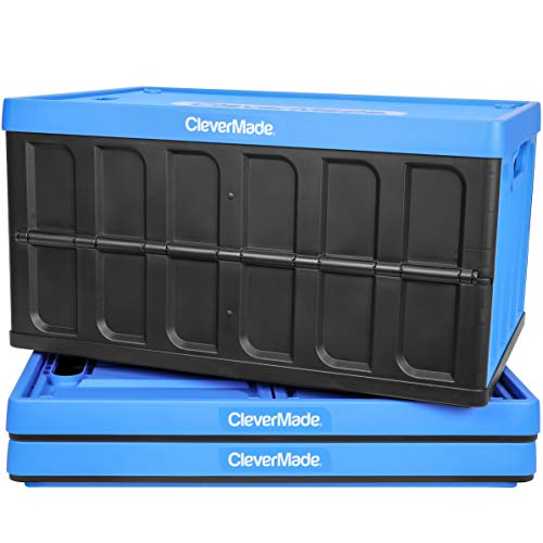 CleverMade - 8034119-21843PK 62L Collapsible Storage Bins with Lids - Folding Plastic Stackable Utility Crates Solid Wall CleverCrates 3 Pack Neptune Blue