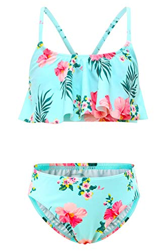 Moon Tree Mädchen Bikini Badeanzug Rüschen Hawaiian Badeanzug Strand Blumen 7-8 Jahre Alt/134