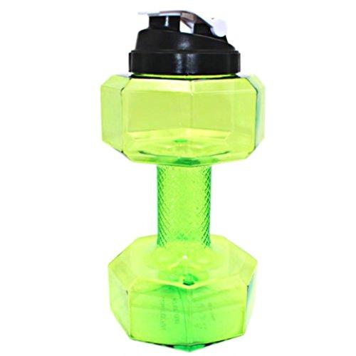 Botella de agua, forma de pesas Power petg 2.2L Water Jug ecológico Sport Jarra de agua para Gym Fitness Ejercicio, Yoga, Correr, Exterior, Ciclismo y camping, verde