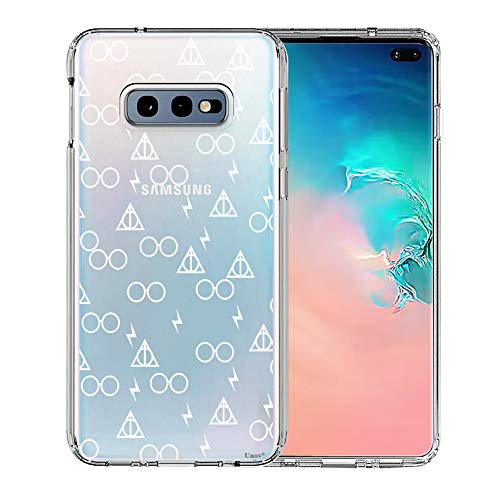 Galaxy S10e Case, Unov Clear with Design Soft TPU Shock Absorption Slim Embossed Pattern Protective Back Cover for Samsung Galaxy S10e 5.8in (Death Hallows)