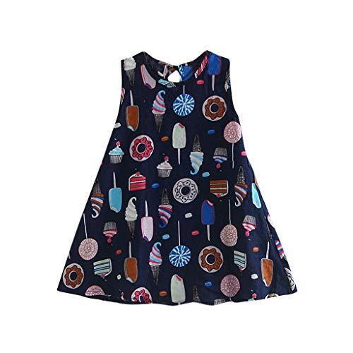 Baby Dress Girl, Toddler Baby Kids Girls Sin mangas Vestidos de estampado de pastel de helado Ropa casual Azul marino 2-3 años, Vestido de bebé recién nacido Grandes ventas