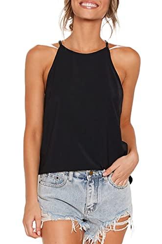 LouKeith Womens Tops Sleeveless Halter Racerback Summer Casual Shirts Basic Tee Shirts Cami Tank Tops Beach Blouses Black S
