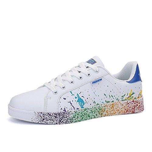 JEDVOO Homme Femme Sneaker Low Top Turnschuhe Sportschuhe Freizeitschuhe Bunte Stoffschuhe(XCX800Blue40)
