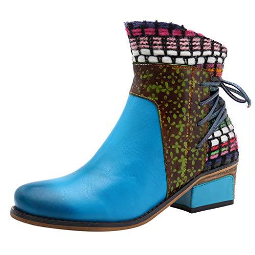 MINIKIMI Stiefeletten Damen Mit Absatz 2019 Leder Kurze Stiefel Vintage Bunte Winter Warme Stiefel Bequeme Ankle Boots Mode SchnüRung Wanderschuhe Schuhe