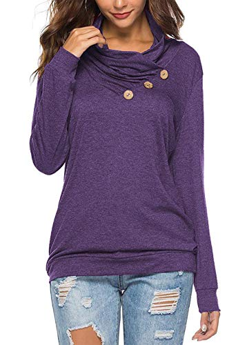 KISSMODA Damen Button Cowl Plissee Neck Tunika Sweatshirt Lila Medium