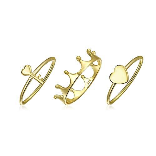 Abeja Reina Princess Crown Corazón Key Apilable 1Mm Knuckle Midi Para Mujer Juego De Anillo Chapado En Oro De 14K 925