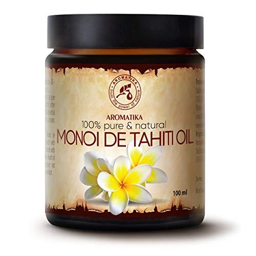 Huile de Monoï de Tahiti 100ml - France - 100% Pure et Naturelle - Huile pour le Corps - Riche en Vitamines - Nourrissant - Soins Intensifs Visage - Corps - Cheveux - Lèvres - Bouteille en Verre