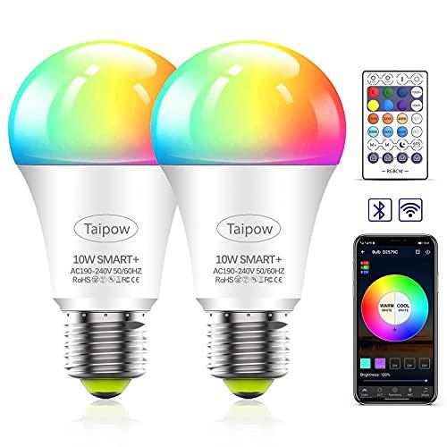 Lampadine Alexa WiFi E27, Lampadina LED Intelligente Taipow 10W 800LM,Riscaldamento e Raffreddamento Regolabili Colore RGB,APP+Vocale+Controller,Compatibile con Alexa/Google Home/Siri (solo 2,4 GHz)-2