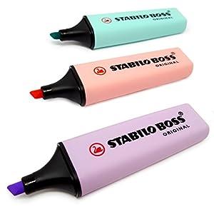 Rotuladores Stabilo Boss, colores pastel, juego de 3: morado, rosa y turquesa