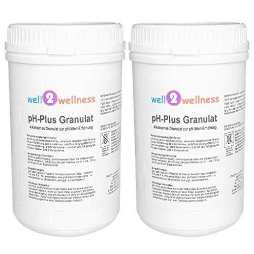 well2wellness pH Plus Granulat pH Heber Granulat für Pool und Spa 2,0 kg (2 x 1,0 kg)