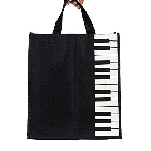 ammoon Musical Washable Cotton Cloth Handbag Music Tote Shoulder Grocery Shopping Bag for Students Girls (Piano Keys)
