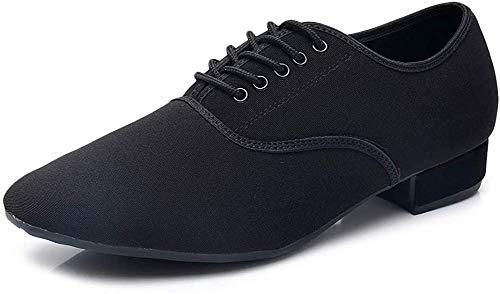 YKXLM Hombres&Muchacho Cuero Zapatos Latinos de Baile/Zapatillas de Baile/Tango Performance Calzado de Danza,LPNJBM2-2CM-JD,Negro Color,EU 37.5