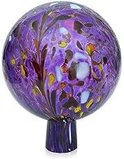 Lauschaer glazen tuinkogel rozenkbal van glas met granulaat hyacinthblauw d 12 cm mondgeblazen handgevormd