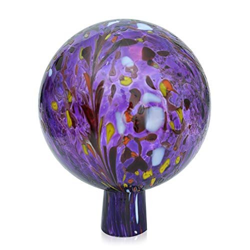 Lauschaer Glas Gartenkugel Rosenkugel aus Glas mit Granulat hyazinthblau d 15cm mundgeblasen handgeformt