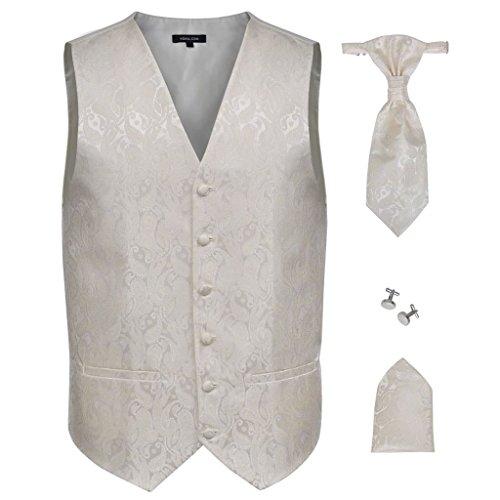 Conjunto Formal Colete + Gravata + Lenço de Bolso Caxemira Paisley Creme T54 - 130831