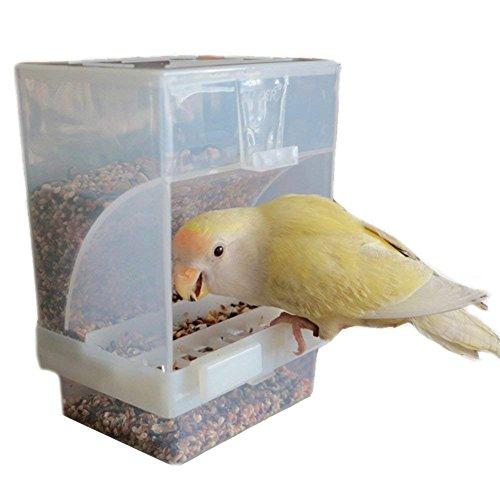 Hypeety Automatischer Futterspender für Vögel, ohne Unordnung, Futterstation, Sitzstange, Käfigzubehör für Wellensittiche, Kanarienvögel, Nymphensittiche, Finken, Sittiche