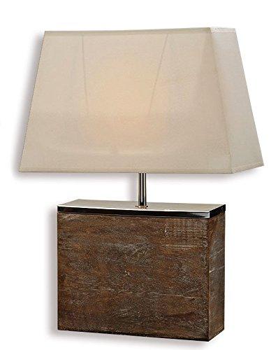 levandeo Lampe Tischlampe/Tischleuchte aus Holz und Metall 50cm hoch - Design Holzlampe Leuchte Licht - Landhausstil Shabby chic modern