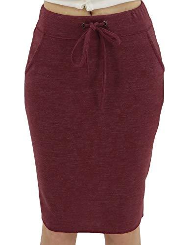 BENANCY Women's High Waist Stretch Pencil Skirt with Pockets Burgandy L