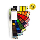 LS 18/25/33/42 Acuarela sólido Paint Set Viaje con Agua Pluma del Cepillo de Agua Plegable Pigmento de Color for Dibujar Dropshipping (Color : 42 Colors)