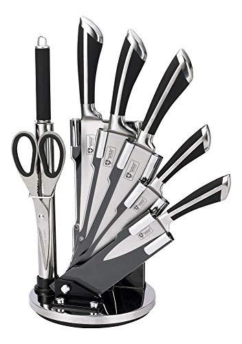 Royalty Line - RL-KSS700 - Juego de Cuchillos de Cocina, Acero Inoxidable, con Soporte, 8 Piezas, Negro