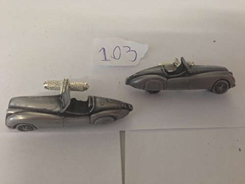 Jaguar XK 120 Roadster 3D-Manschettenknöpfe Zinn-Manschettenknöpfe Oldtimer ref103