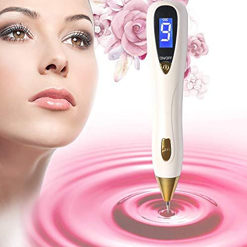 [2018 Upgraded] Maulwurfentferner Kit mit 9 einstellbaren Modi & LED-Licht, LCD-Display Spot Eraser Pro für Tattoo Nevus Sommersprossen Geburtszeichen mit USB-Ladefunktion & austauschbaren Nadeln