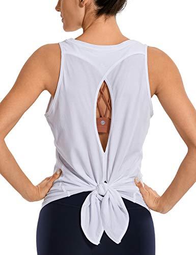 CRZ YOGA Mujer Camisas sin Mangas Deportivas Camisetas Chaleco Yoga Cuello Redondo Tops Deportes Espalda Abierta Blanco 42