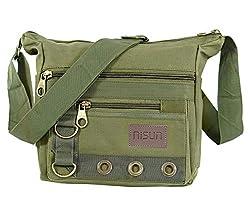 NISUN Cotton Sling Cross Body Travel Office Business Messenger one Side Shoulder Bag for Men Women(24.1X8.8X21.5 cm,Olive),NISUN,Olive-Travel Messenger Bag