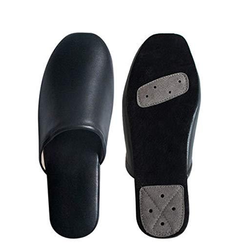 HAOXUAN Zapatillas de Punta Abierta Material de Cuero Zapatillas de Diapositivas Planas, usable, Antideslizante, Elegante y cómodo, diseño Elegante, le Brinda una Apariencia, Negro,36