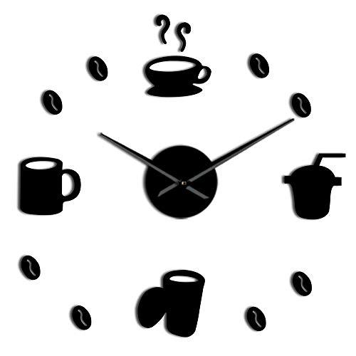 Reloj de Pared 3D Decoración de Cocina Café Tienda de...