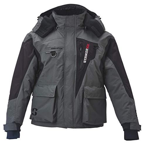 Striker Ice Men's Fishing Cold Weather Waterproof Insulated Hooded Predator Jacket, Gray/Black, X-Large