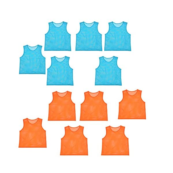 Scrimmage Team Practice Jerseys Nylon Mesh Vests Pinnies for Children Adult Sports Basketball, Soccer, Football, Volleyball (12 Pack)