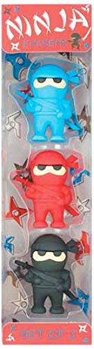 Ooly Ninja Erasers - Set of 3 - Blue, Red, and Black Colors - 1.75' Tall